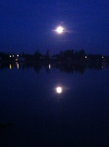 moon reflecting Sidney, British Columbia Canada