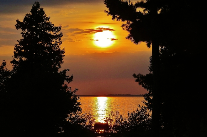 Muted September sun over Manitou Island's Provincial Park. North Bay, Ontario Canada