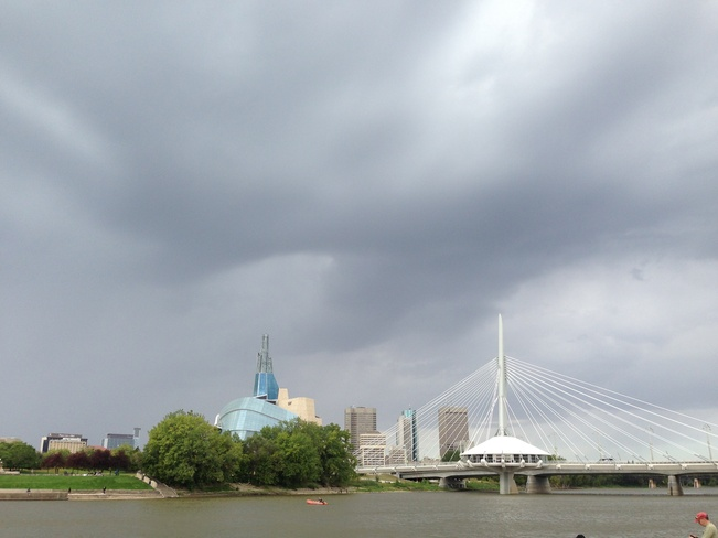 dark clouds above the city Winnipeg, Manitoba Canada
