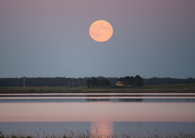 Harvest Moon over Brackley Bay Charlottetown, Prince Edward Island Canada