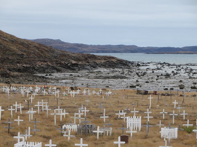 overcast day in Iqaluit by the cemetery Iqaluit, Nunavut Canada