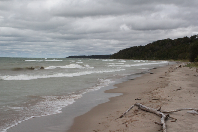 Diminished shoreline on Saturday September 21st. Goderich, Ontario Canada