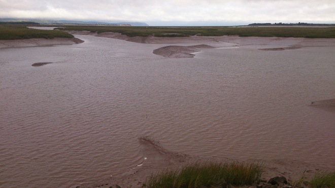 Ok.. if the tide is going out in the Wolfville Harbour...at this point is the ha Wolfville, Nova Scotia Canada