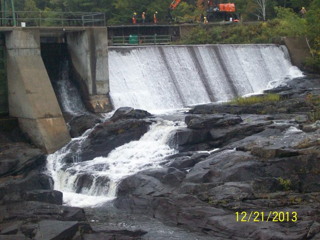 Heavy Downpours made for water cascading off this Dam off Cascade Street on the Parry Sound, Ontario Canada