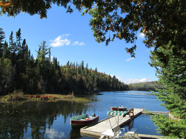 A view of Flank Lake taken from Laurentian Lodge Elliot Lake, Ontario Canada