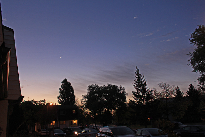 Cirrus clouds point towards a tiny crescent moon,