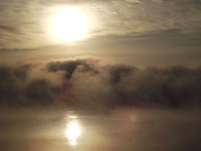 Breaking through the fog Lac du Bonnet, Manitoba Canada