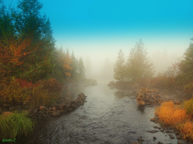 Early morning mist. Sainte-Agathe-des-Monts, Quebec Canada