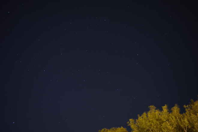 The Pole Star (Polaris), over the woods on an October morning;