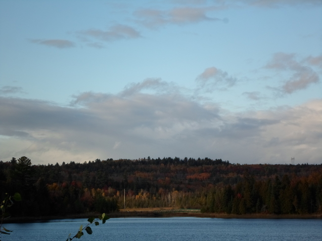 Sunshine on the trees across the water Elliot Lake, Ontario Canada