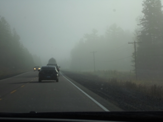 Fog in some area was worse than others Elliot Lake, Ontario Canada