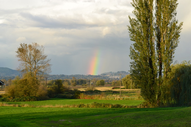 rainbow before downpour Abbotsford, British Columbia Canada