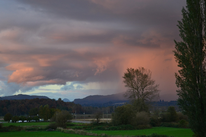 Evening rainstorm over Mission Abbotsford, British Columbia Canada