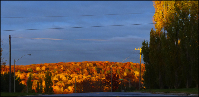 Esten Dr. looking at the hills at sunset. Elliot Lake, Ontario Canada