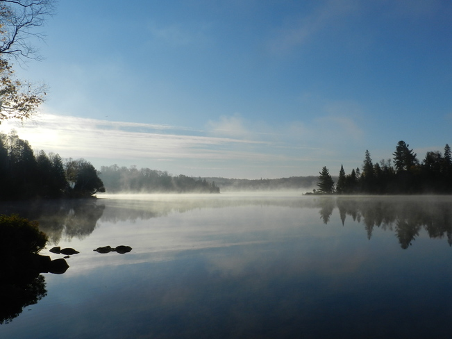 Mist Over Spring Lake Bummers' Roost, Ontario Canada