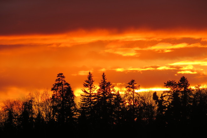 Fiery sunset Timmins, Ontario Canada