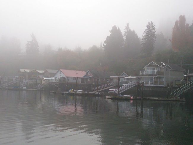 Fog in Cowichan Bay Cowichan Bay, British Columbia Canada