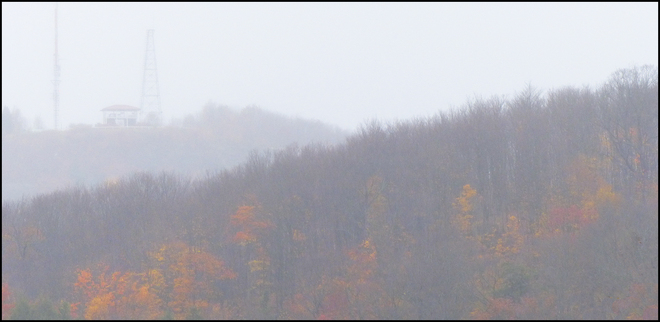 Look out in the drizzle / fog. Elliot Lake. Elliot Lake, Ontario Canada