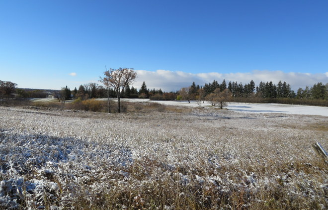 Snow dusted fields Brandon, Manitoba Canada
