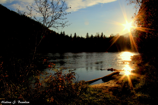 Sunset over Shuswap River Enderby, British Columbia Canada