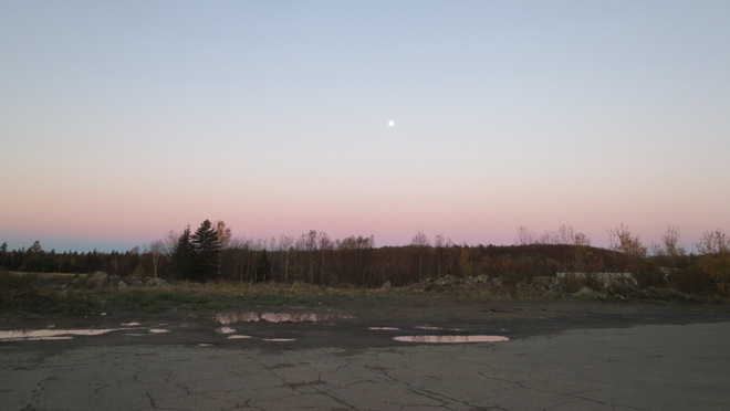 Moon setting in the west Lively, Ontario Canada