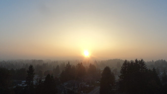 Vancouver foggy sunset oc 21 2013 Surrey, British Columbia Canada
