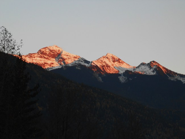 sunset on three valley mountains Revelstoke, British Columbia Canada