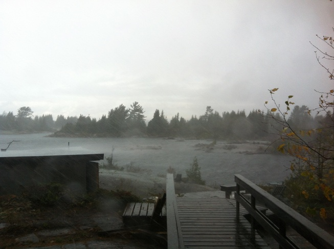 Blowin' a gale! Pointe au Baril Station, Ontario Canada