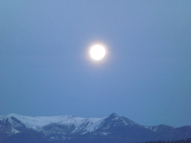 Morning full moon Kimberley, British Columbia Canada