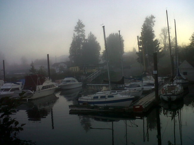 Boats in the fog. Courtenay, British Columbia Canada