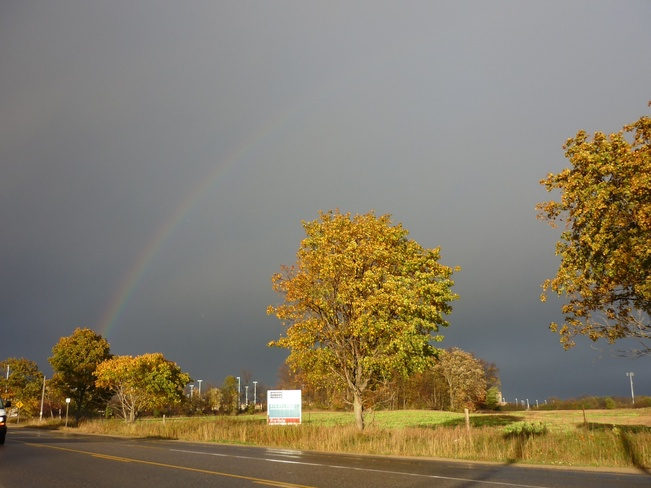 Left side of rainbow Rama Road, Ontario Canada