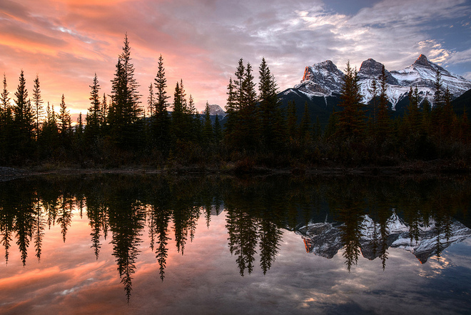 The Three Sisters Sunrise Canmore, Alberta Canada