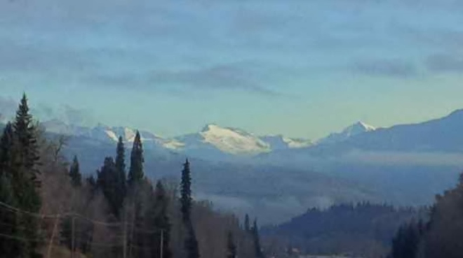 Snow capped Mountains Sicamous, British Columbia Canada