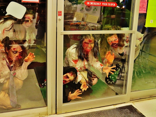 Zombies trying to break in to Value Village! North Bay, Ontario Canada