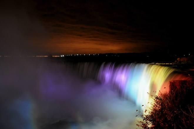 Niagara Falls at night Calgary, Alberta Canada
