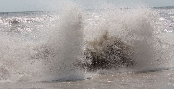Large waves at the beach Port Bruce, Ontario Canada