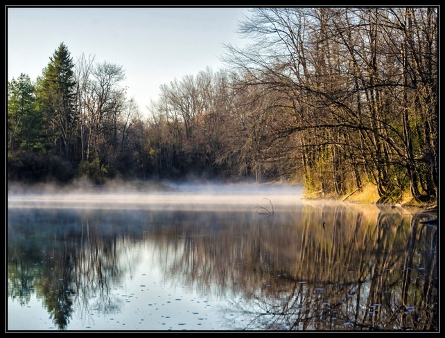 Fog over Napanee river Colebrook, Ontario Canada