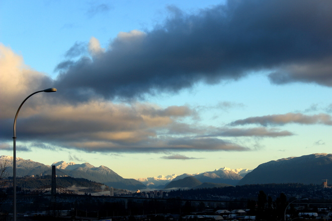 snow on the mountains Surrey, British Columbia Canada