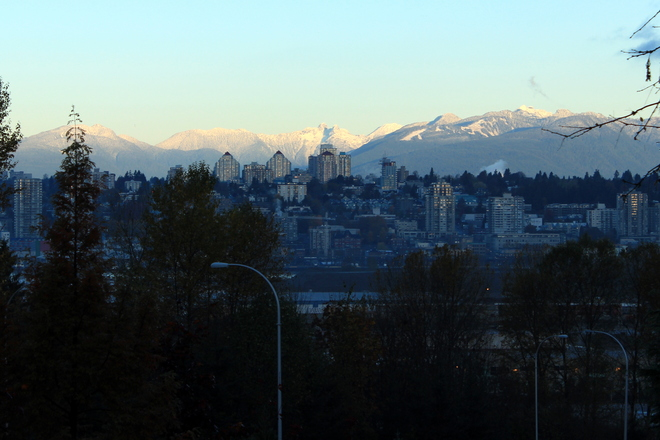 sunrise on the mountains New Westminster, British Columbia Canada