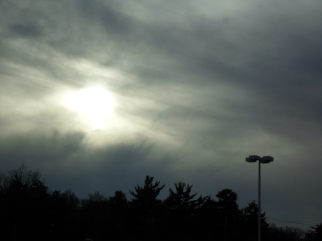 Dark Clouds,sun trying to come out Elliot Lake, Ontario Canada