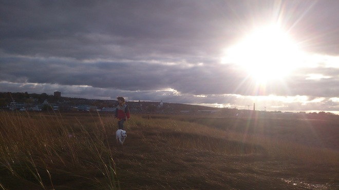 Just a Walk with the Dog overlooking Acadia Wolfville, Nova Scotia Canada