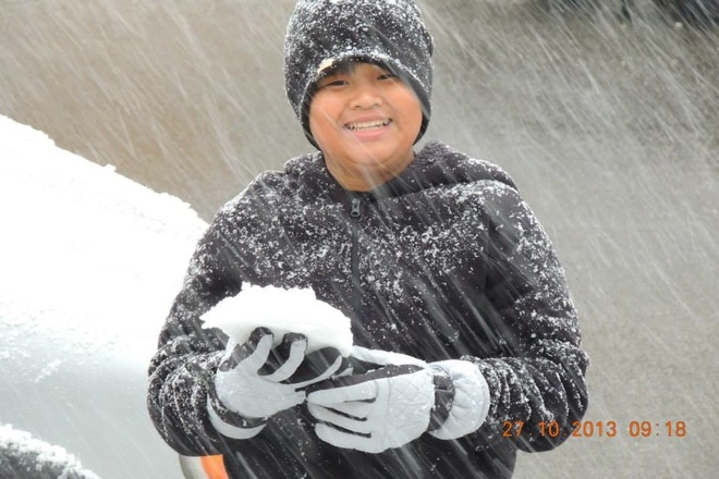 His First Snow in Canada Bearspaw, Alberta Canada