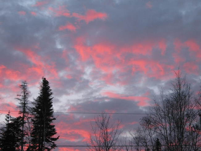 red sky Oromocto, New Brunswick Canada