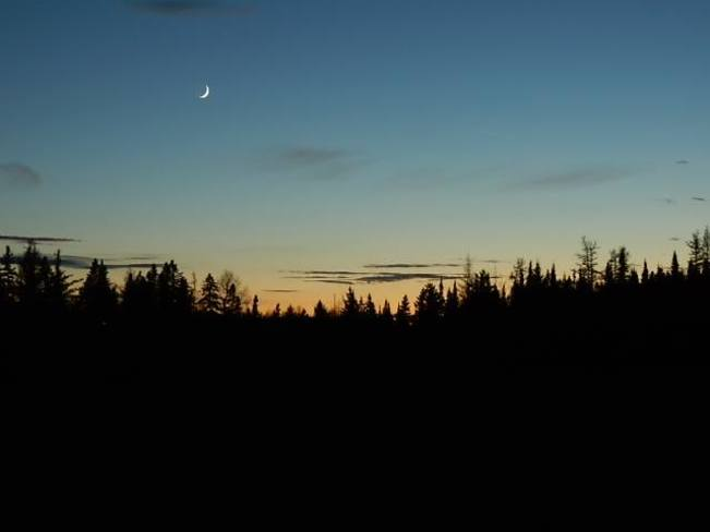 Crescent moon over Beaver Dam, NB Fredericton, New Brunswick Canada