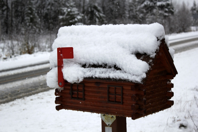 Snow on the Roof of the Mail Box Moonbeam, Ontario Canada