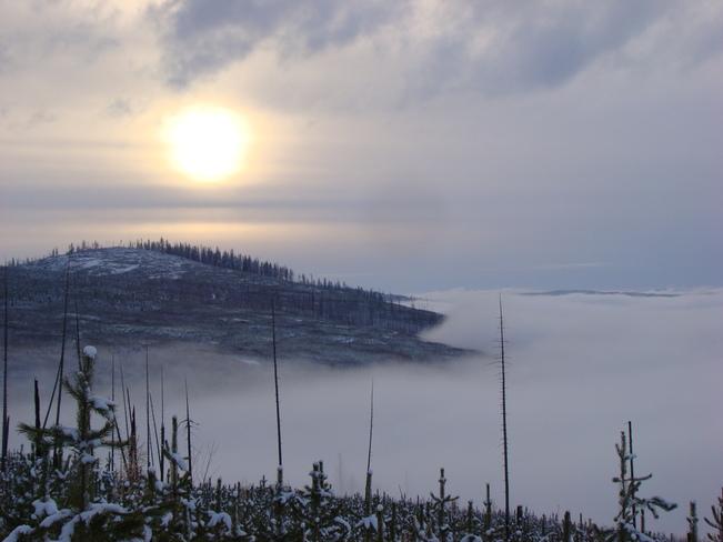 Heavy Fog over Okanagan Lake Kelowna, British Columbia Canada