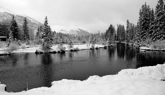 Canmore creek first snow Canmore, Alberta Canada