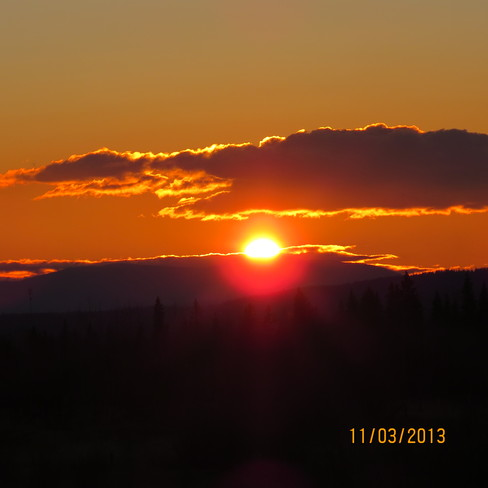 November3rdd Sunset in Beaverley Prince George, British Columbia Canada