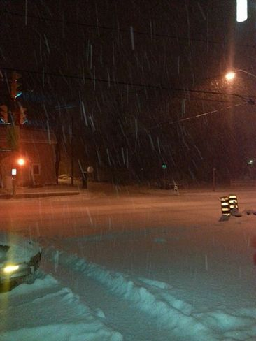 Snowing Barrie, Ontario Canada