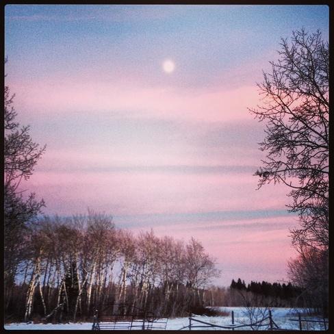 Pink Skies At Night. Grahamdale, Manitoba Canada
